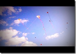 Many kites filled the sky on the day of the kite festival.